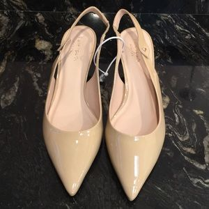 New kate spade Tan Patent Leather Kitten Heels